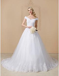 billiga Balbrudklänningar-Balklänning V-hals Katedralsläp Spets / Tyll Bröllopsklänningar tillverkade med Applikationsbroderi / Spets av LAN TING BRIDE®