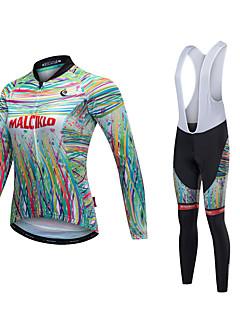 Malciklo Sykkeljersey med bib-tights Unisex Langermet Sykkel Jersey Tights Med Seler Sykkelklær Reflekterende Stripe Fort Tørring