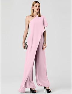 billiga Aftonklänningar-Jumpsuit Enaxlad Golvlång Chiffong Formell kväll Klänning med Draperad av TS Couture®