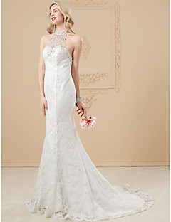 Mermaid / Trumpet Illusion Neckline Court Train Lace Tulle Wedding Dress with Beading Appliques Buttons by LAN TING BRIDE®
