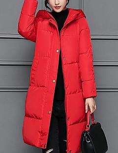 Damen Daunen Mantel,Lang Einfach Lässig/Alltäglich Solide-Polyester Polypropylen Langarm
