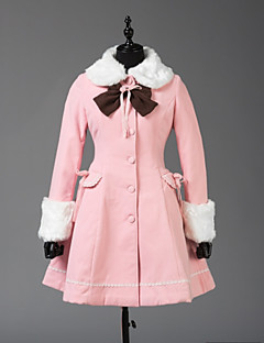 Coat Steampunk® Coats Vintage Style British Cosplay Lolita Dress Pink Solid Color Long Sleeves Coat For Wool Woolen