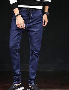 Herre Gatemote Mikroelastisk Jeans Bukser,Mellomhøyt liv Trykt mønster