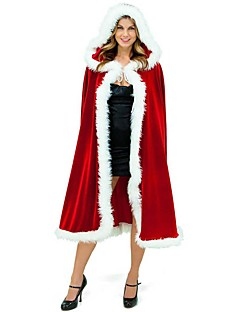 Holiday Santa Claus Mrs.Claus Cloak Female Christmas Festival / Holiday Halloween Costumes Red Solid