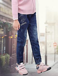 billige Bukser og leggings til piger-Pige Bukser Jeans, Bomuld Vinter Aktiv Blå