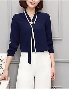 Damen Solide Einfach Lässig/Alltäglich Hemd,V-Ausschnitt Langarm Polyester Dünn