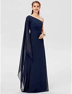 cheap Imperial Blue-A-Line Princess One Shoulder Floor Length Chiffon Bridesmaid Dress with Sash / Ribbon Pleats by LAN TING BRIDE®