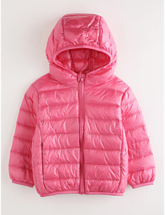 cheap Girls' Jackets & Coats-Girls' Solid Down & Cotton Padded, Cotton Long Sleeves Blushing Pink