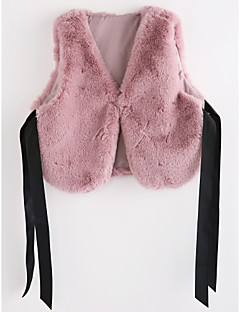 cheap Kids' Clothing-Girls' Solid Vest, Faux Fur Blushing Pink