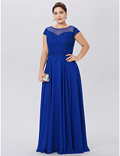 cheap -A-Line Jewel Neck Floor Length Chiffon Lace Mother of the Bride Dress with Appliques by LAN TING BRIDE®