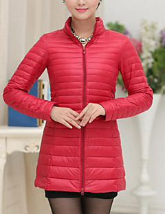 Women's Regular Down Coat,Street chic Casual/Daily Plus Size Solid-Polyester White Duck Down Long Sleeves Stand