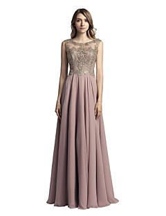 A-Linie Schmuck Boden-Länge Chiffon Abiball Formeller Abend Kleid mit Perlenstickerei Applikationen durch Sarahbridal