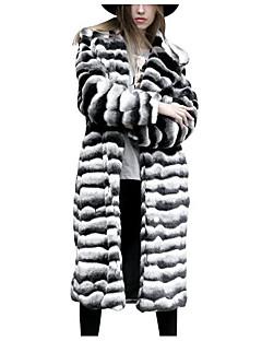 baratos -Feminino Casaco de Pêlo Para Noite Simples Inverno,Estampa Colorida Longo Outros Manga Longa