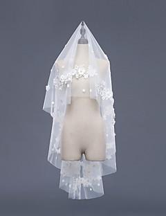 Einschichtig Akzent dekorativen Brautkleidung Hochzeitsschleier Fingerspitzenlange Schleier Mit Spitzen Stickerei Spitze Tüll
