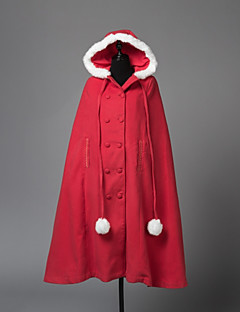Steampunk® Coats Vintage Style British Cosplay Lolita Dress Red Long Sleeves Cloak For Wool Woolen