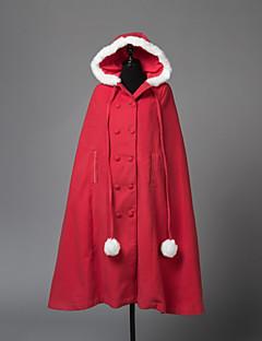 billige julen Kostymer-Lolita Cloak Prinsesse Dame Voksne Jente Kappe Cosplay Rød Langermet
