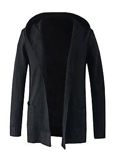hesapli Men's Fashion Cardigans-Erkek Solid Günlük Günlük Actif Hırka Uzun Kollu Kapşonlu Kış Sonbahar
