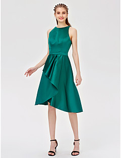 cheap Green Glam-A-Line Princess Jewel Neck Asymmetrical Satin Bridesmaid Dress with Sash / Ribbon Pleats by LAN TING BRIDE®