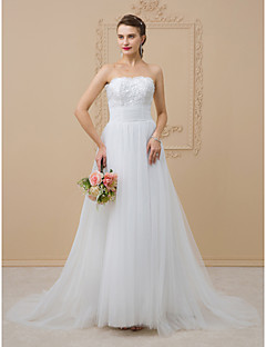 cheap High-end Wedding Dresses-A-Line / Princess Strapless Chapel Train Tulle / Glitter Lace Made-To-Measure Wedding Dresses with Beading / Sequin / Lace by LAN TING