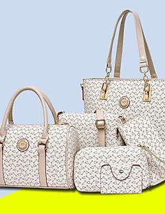 hesapli -Kadın's Çantalar PU Çanta Setleri 5 Adet Çanta Seti Tema / Baskı için Tüm Mevsimler Doğal Pembe Bej Mor Kahve Gök Mavisi