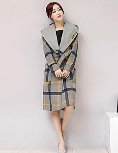 hesapli Women's Wool Coats-Kadın's Desen Yünlü Pamuklu Polyester Kapşonlu Kış Sonbahar Zıt Renkli sofistike Günlük Uzun Kaban
