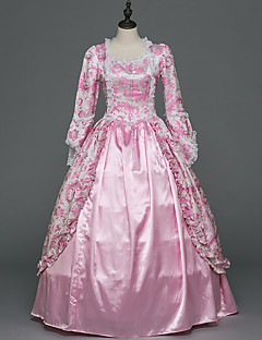 Victorian Rococo Female Adults' Party Costume Masquerade Pink Cosplay Stretch Satin Satin Long Sleeves Floor Length