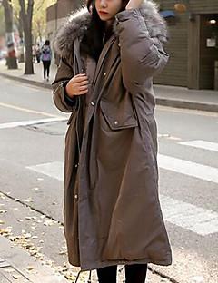 Damen Gefüttert Mantel Einfach Ausgehen Solide-Andere Baumwolle Langarm