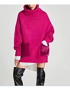 Χαμηλού Κόστους Chic Sweaters Sale-Γυναικεία Μακρυμάνικο Ζιβάγκο Μακρύ Πουλόβερ - Μονόχρωμο / Χειμώνας