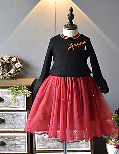 billige Tøjsæt til piger-Pige Tøjsæt Ensfarvet Mønster, Bomuld Polyester Efterår Sort