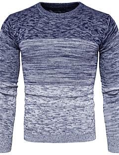 tanie Męskie swetry i swetry rozpinane-Męskie Na co dzień Okrągły dekolt Pulower Wielokolorowa Długi rękaw