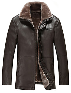 メンズ カジュアル/普段着 秋 冬 レザージャケット,シンプル シャツカラー ソリッド レギュラー Lambskin 長袖