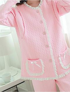 スーツ パジャマ 女性 コットン ポリエステル ソリッドカラー ピンク