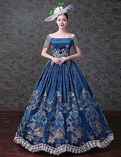 Vintage Rococo Wiktoriańskie Kostüm Kadın's Yetişkin Tek-parça Elbiseler Parti Kostümleri Maskeli Balo Mavi Eski Tip Cosplay Saten/Tül Tül