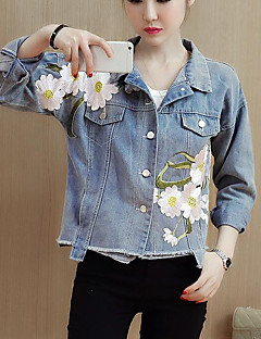 Women's Daily Going out Street chic Winter Fall Denim Jacket,Floral Print Shirt Collar Long Sleeves Short Polyester