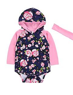 billige Babytøj-Baby Pige En del Blomstret, Bomuld Vinter Forår/Vinter Langærmet Afslappet Mode Blå