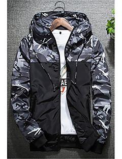 お買い得  メンズジャケット&コート-男性用 プラスサイズ ジャケット - 活発的 フード付き カモフラージュ クラシック