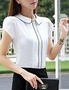 Dames Eenvoudig Blouse,Casual/Dagelijks Gestreept Overhemdkraag Korte mouw Polyester