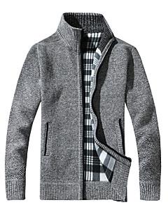 お買い得  メンズセーター&カーデガン-男性用 週末 長袖 スタンド スリム カーディガン - ソリッド スタンド