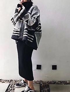 Damen Standard Pullover-Alltag Einfarbig Peter Pan-Kragen Langarm Acryl Mittel Mikro-elastisch