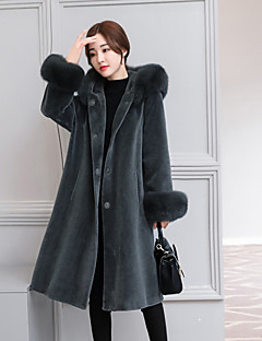 Women's Daily Going out Simple Casual Winter Fall Coat,Solid Hooded Long Sleeves Long Wool Polyester Spandex