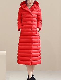 Damen Daunenjacke Mantel Einfach Lässig/Alltäglich Solide-Nylon Weiße Entendaunen Langarm