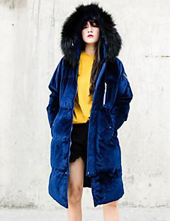Damen Gefüttert Mantel Einfach Lässig/Alltäglich Solide-Baumwolle Acryl Baumwolle Langarm