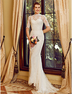 cheap Wedding Dresses-Mermaid / Trumpet High Neck Sweep / Brush Train All Over Lace Made-To-Measure Wedding Dresses with Appliques / Sashes / Ribbons by LAN TING BRIDE® / Illusion Sleeve / See-Through / Beautiful Back
