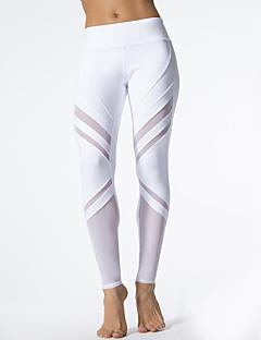 Mulheres Patchwork Média Cordão Bordado Legging,Branco