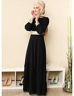 baratos -Feminino Abaya Vestido,Para Noite Casual Sólido Decote Redondo Longo Manga Longa Algodão Todas as Estações Cintura Média Micro-Elástica