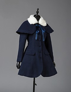 Coat Steampunk® Coats Vintage Style British Cosplay Lolita Dress Cyan Long Sleeves Coat For Wool Woolen