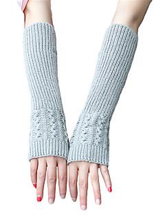 tanie Akcesoria zimowe-Damskie Na co dzień Do łokcia Z odsłoniętymi palcami Rękawiczki Jendolity kolor