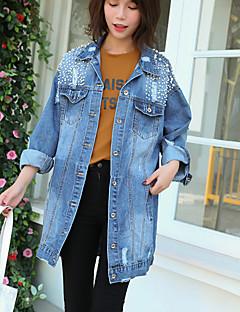 Damen Solide Einfach Freizeitskleidung Lässig/Alltäglich Jeansjacke,Hemdkragen Herbst Langarm Lang Baumwolle