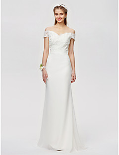 cheap Going Neutral-Sheath / Column Off Shoulder Floor Length Satin Beaded Lace Bridesmaid Dress with Beading Appliques Buttons by LAN TING BRIDE®