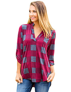 Women's Holiday Going out Street chic Autumn/Fall Shirt,Houndstooth V Neck Long Sleeves Polyester Elastane Medium
